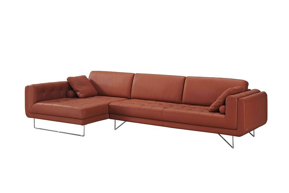Pumpkin italian leather sectional sofa with throw pillows for Arizona leather sectional sofa with chaise