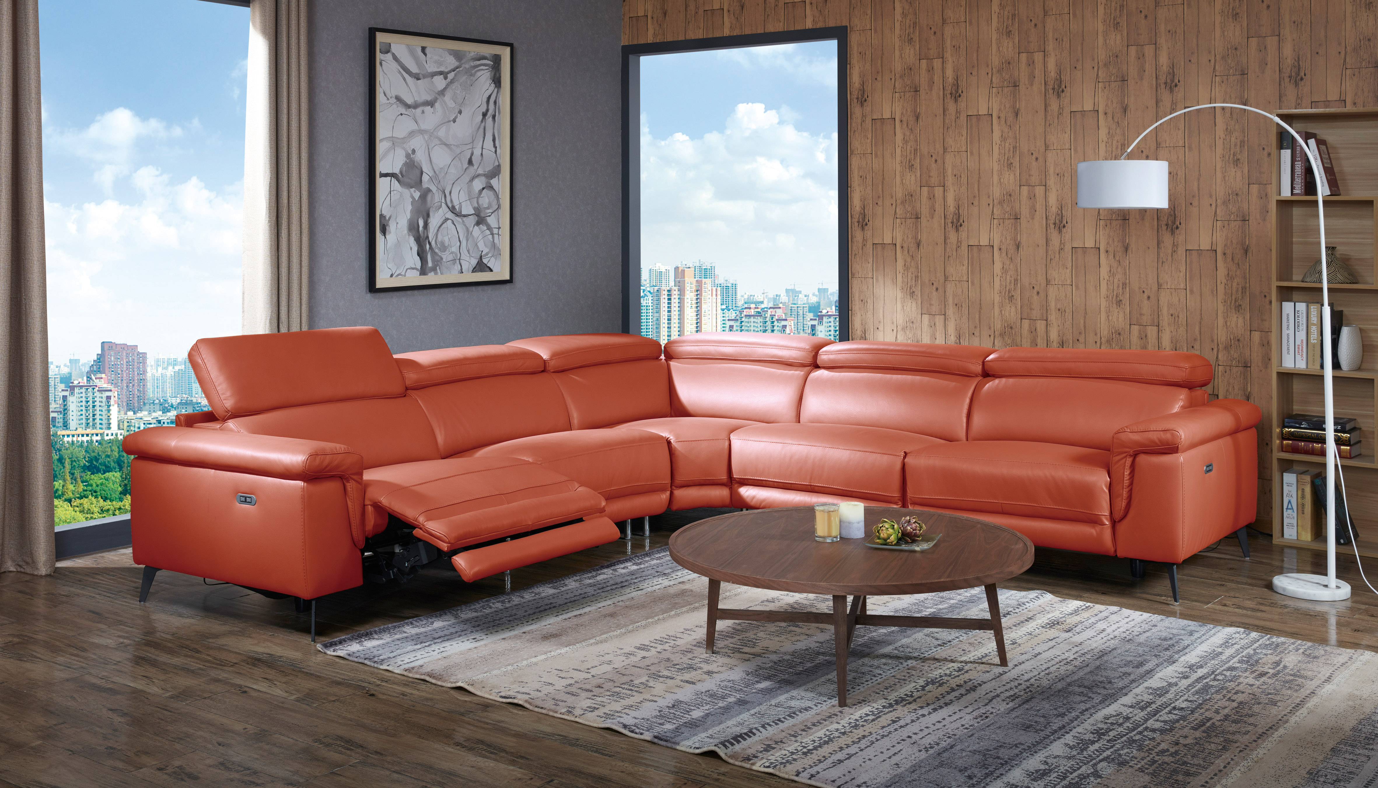 Elite Covered in Leather Sectional Beverly Hills Hendrix
