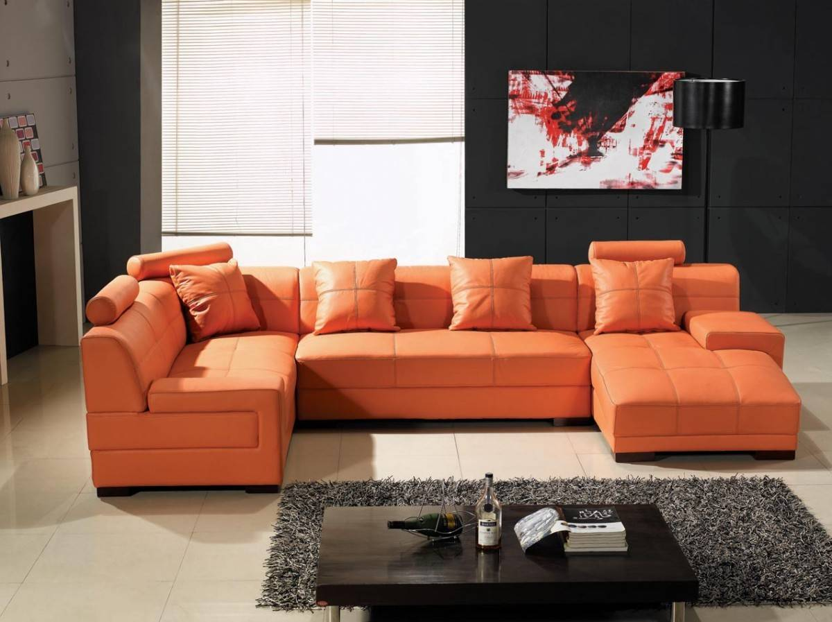 Unique Genuine Leather Sectional with Pillows