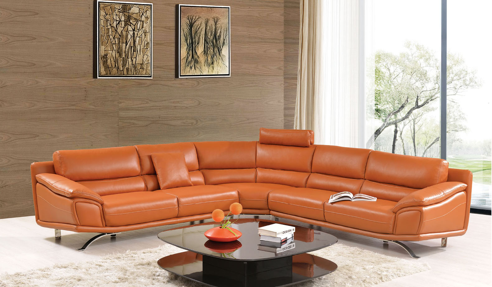High Class Sectional Upholstered In Real Leather