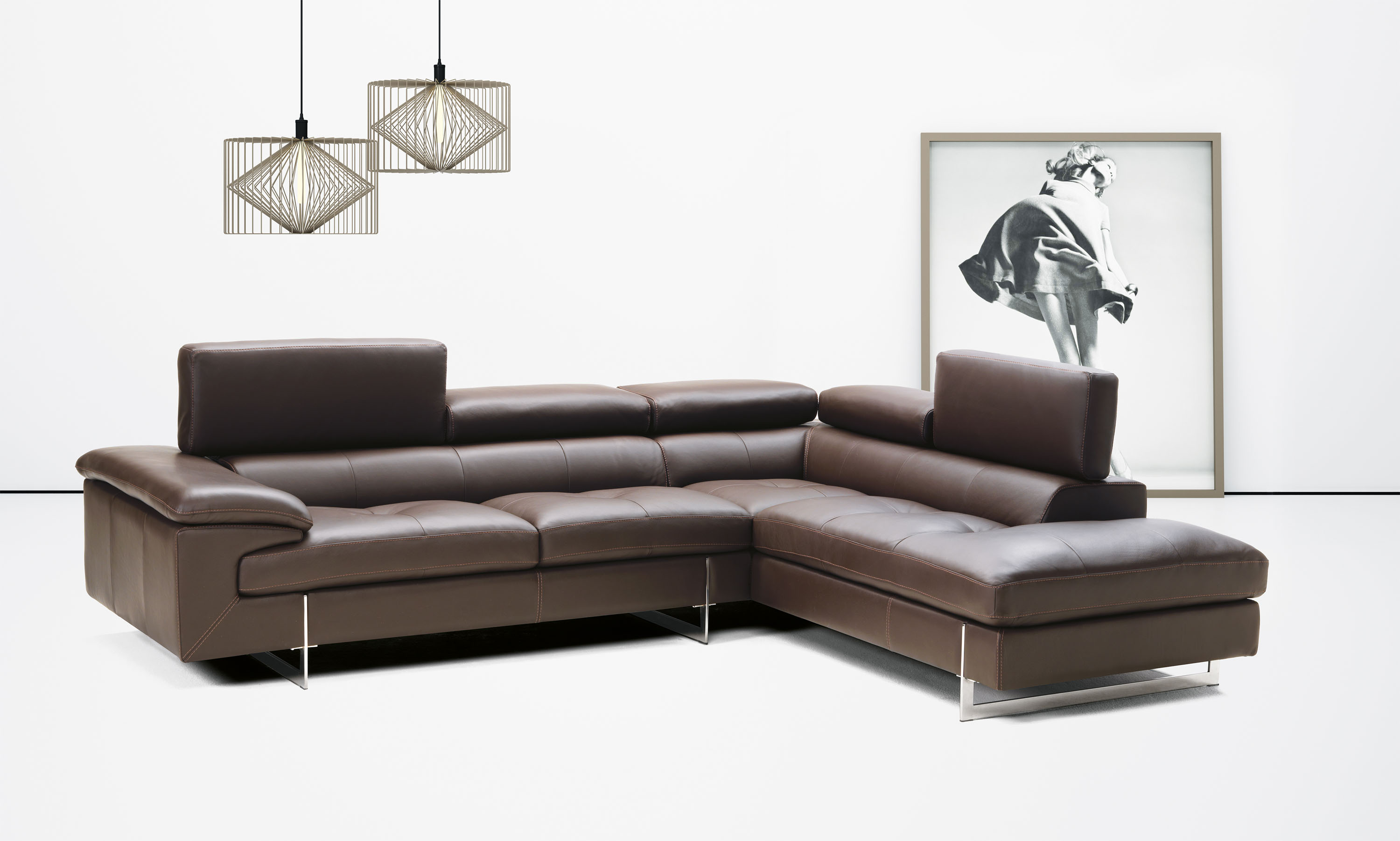 Contemporary italian leather sectional with optional for Matching arm chairs