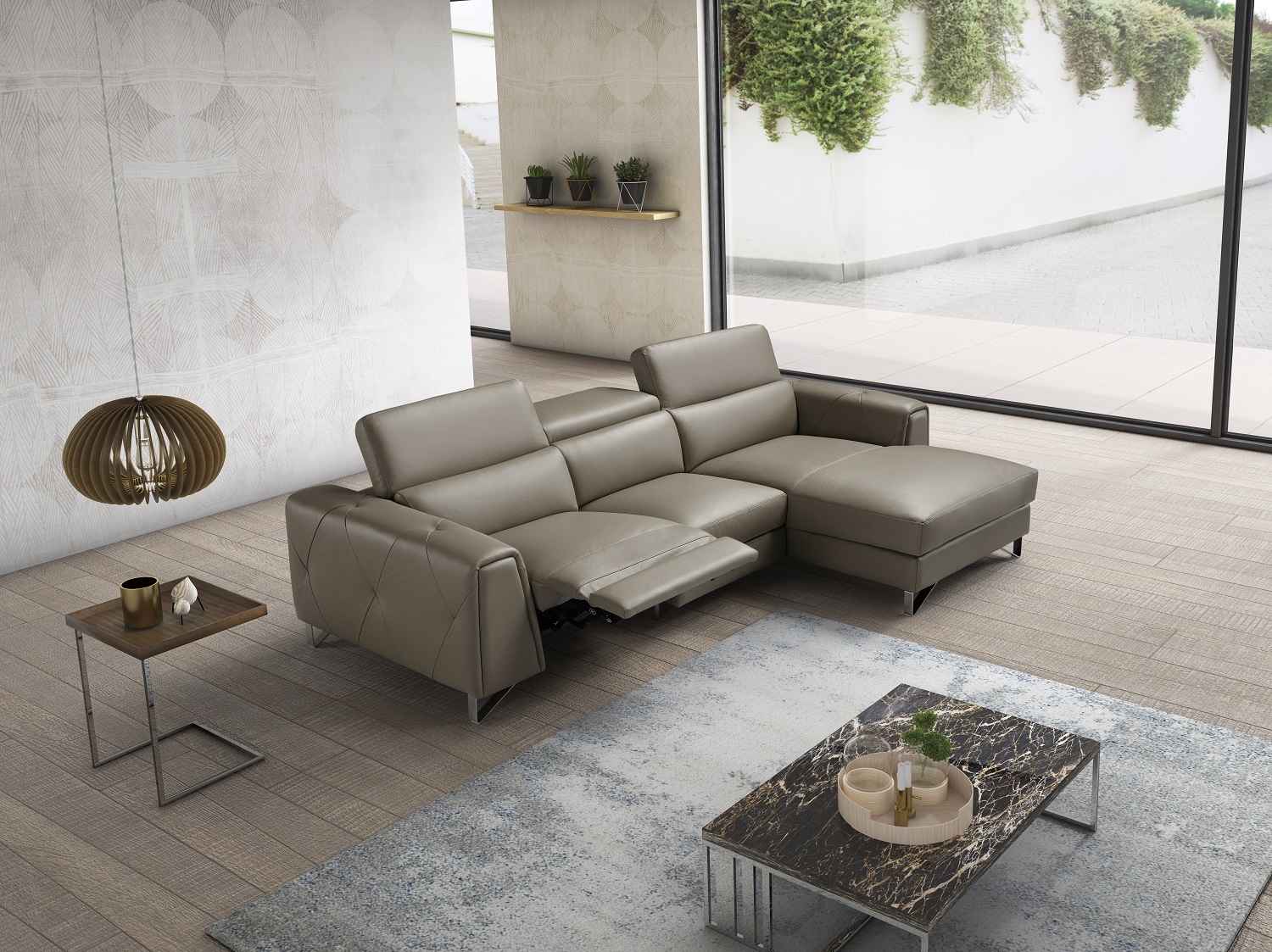 Italian Made Taupe Full Leather Sectional Sofa With