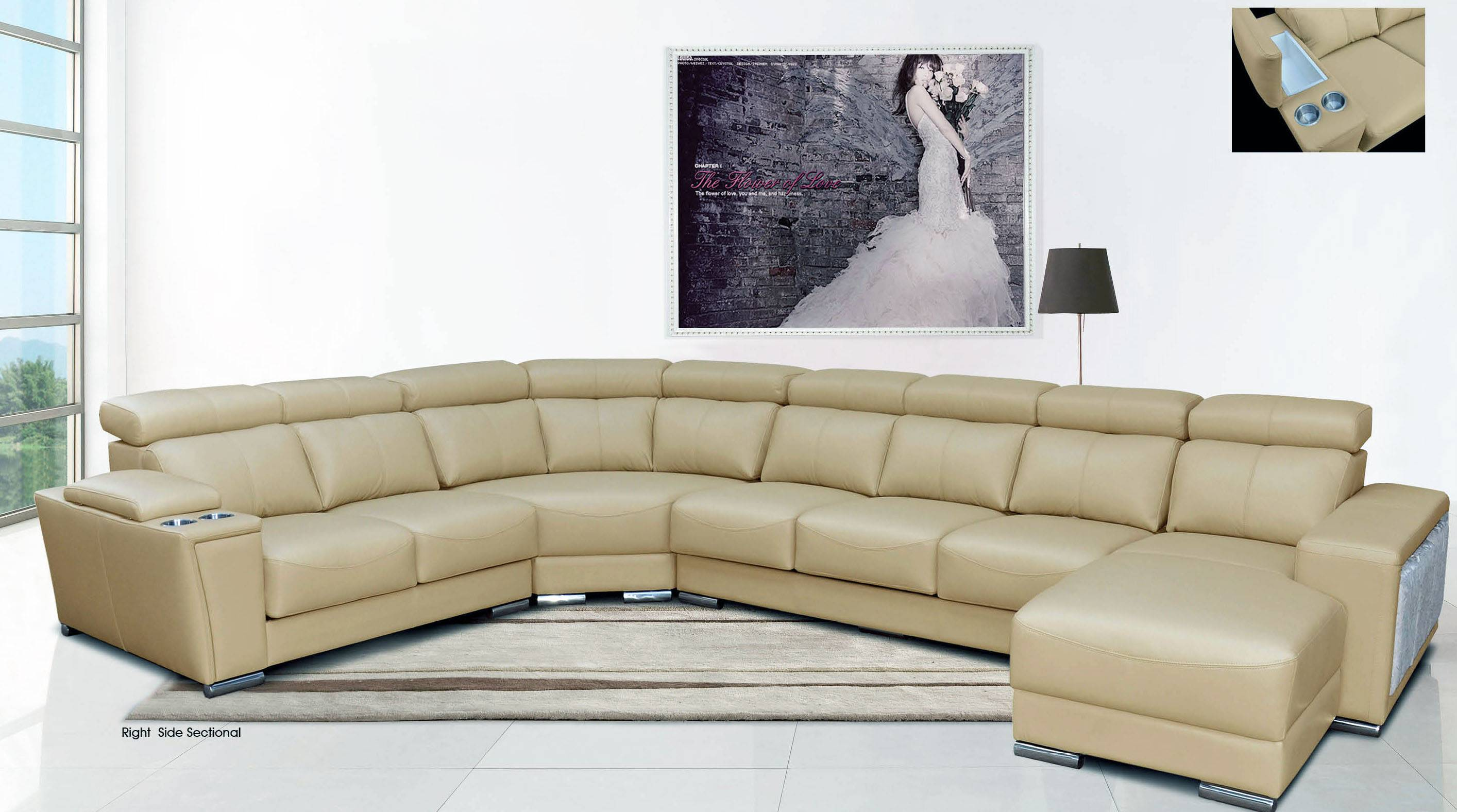 new arrival dc52e 7998d Cream Italian Leather Extra Large Sectional with Cup Holders