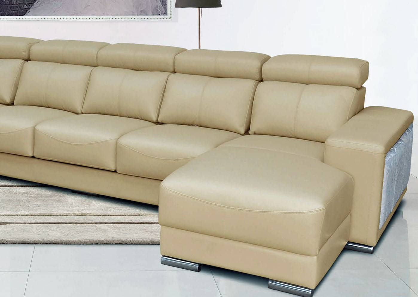 Cream Italian Leather Extra Large Sectional With Cup