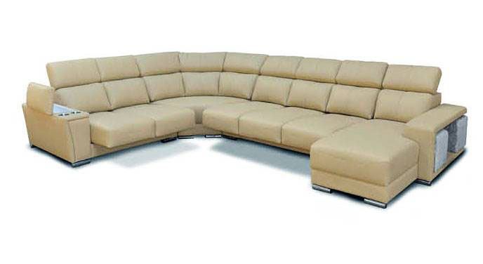 Cream Italian Leather Extra Large Sectional With Cup Holders Columbus Ohio Esf8312