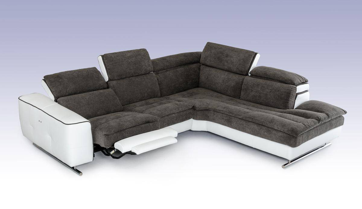 Made in Italy Grey and White Fabric and Leather Sectional with Recliner - Click Image to Close