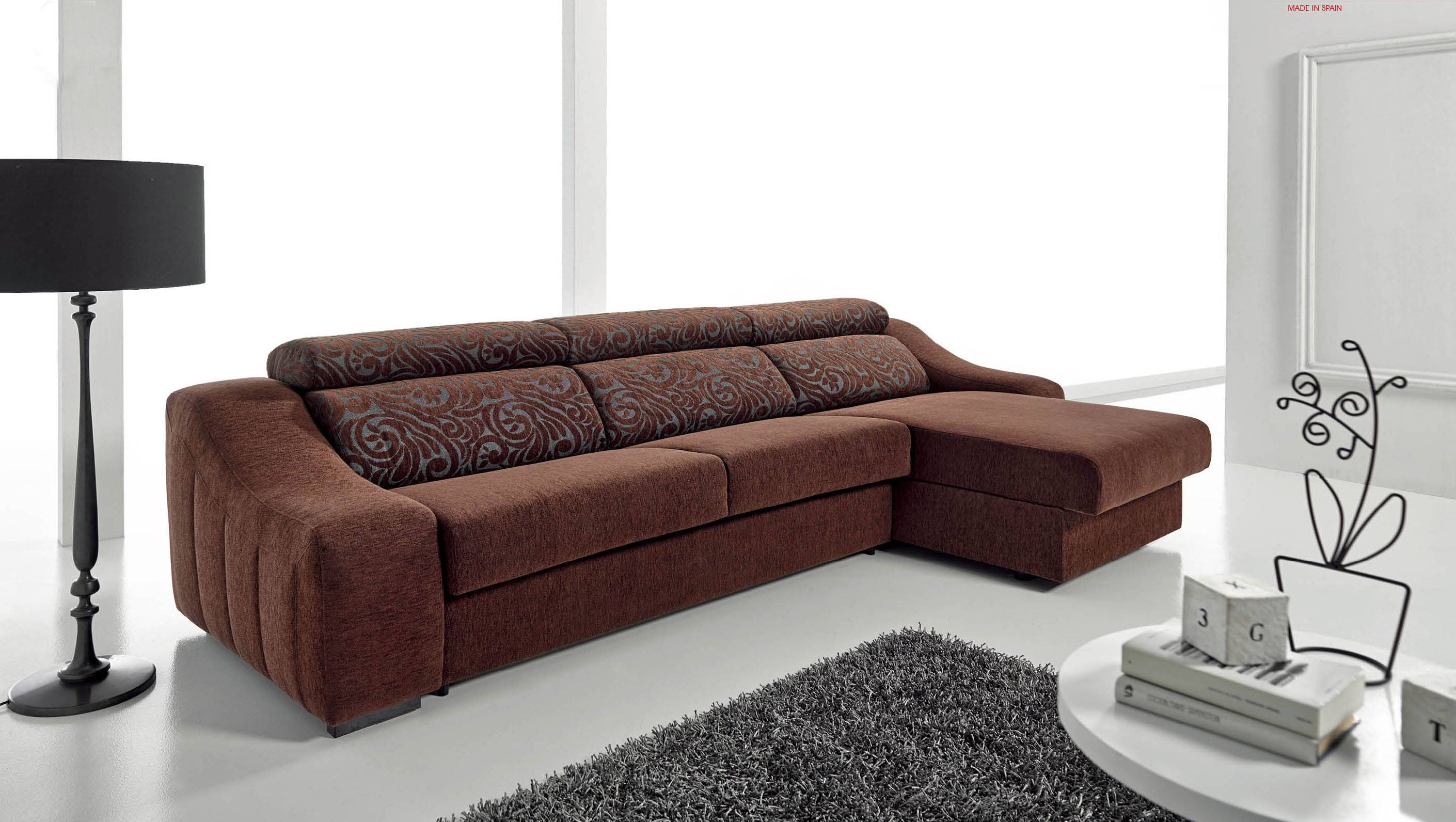 Pleasant brown fabric reversible sectional with fold out for Sectional sofa with fold out bed