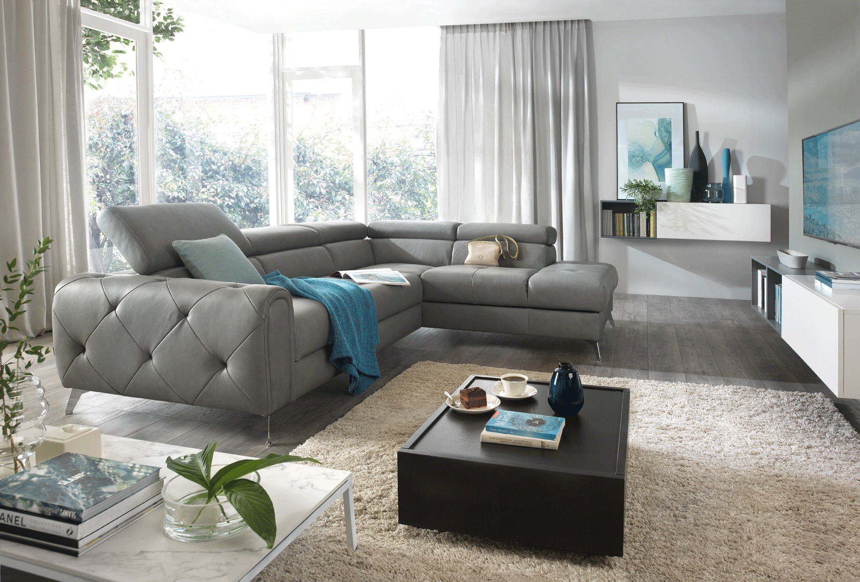 Contemporary Dark Grey Leather Sofabed Sectional Denver