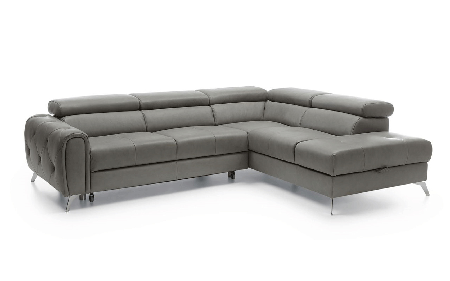 Contemporary Dark Grey Leather Sofabed Sectional - Click Image to Close