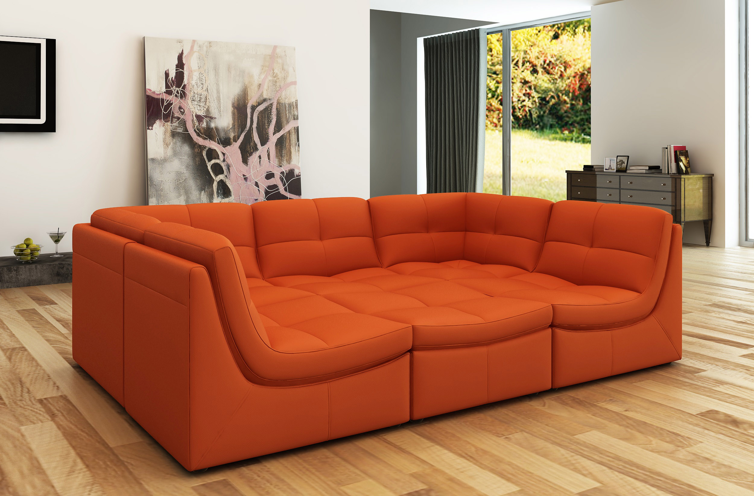 Elegant Tufted Leather Curved Corner Sofa