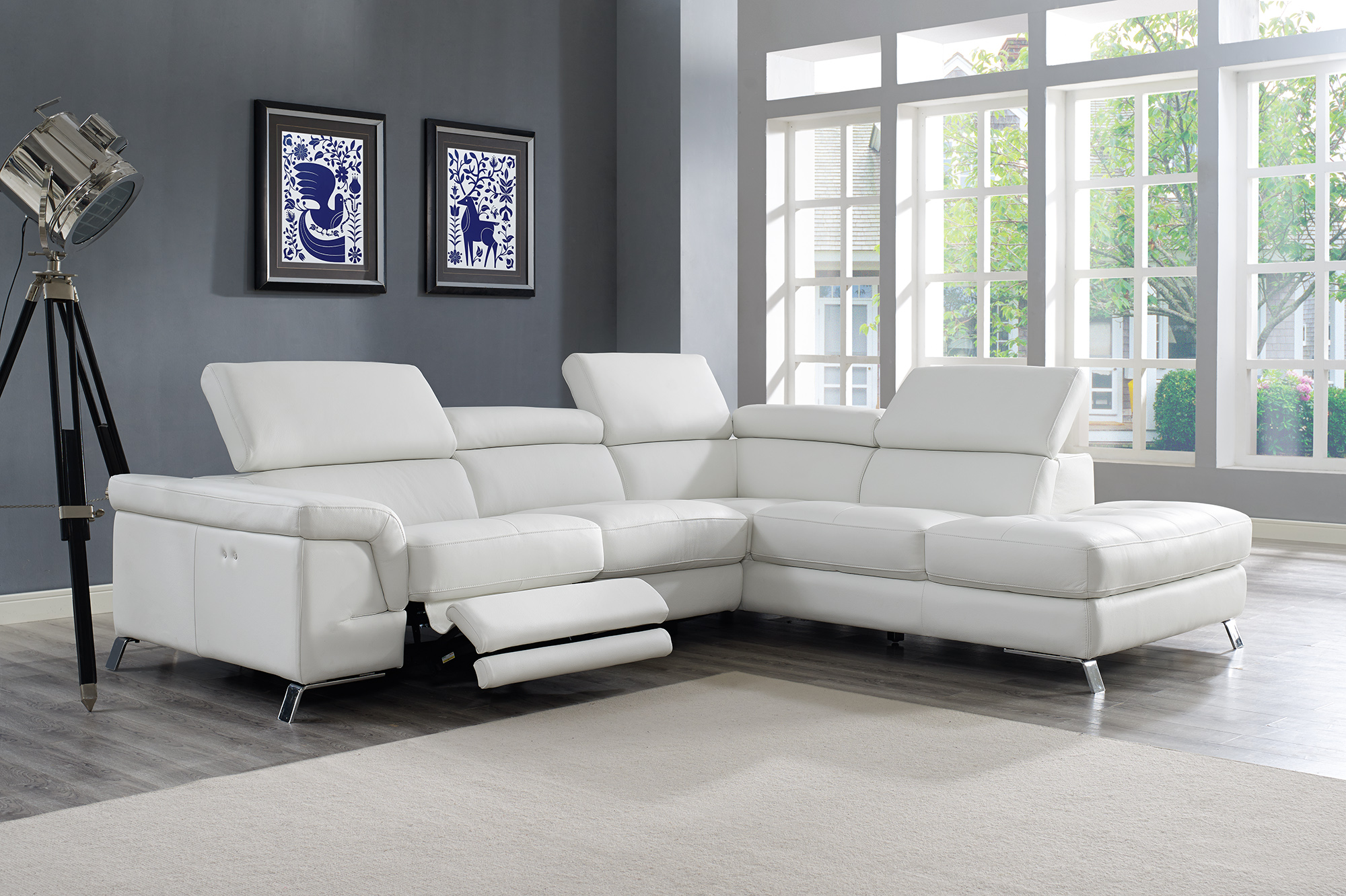 Stupendous Real Italian Leather Sectional With Recliner Footrest Ibusinesslaw Wood Chair Design Ideas Ibusinesslaworg