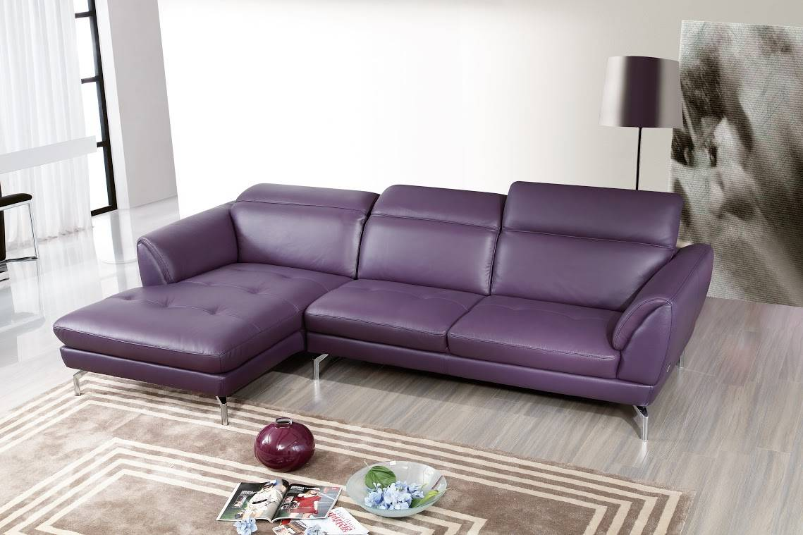 Top Grain Purple or Off White Sectional Sofa Tufted Seats Detroit ...