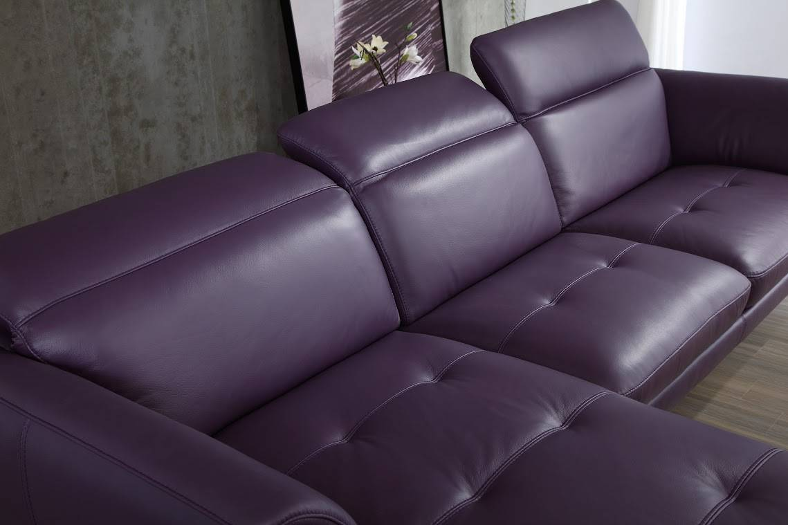 Top Grain Purple Or Off White Sectional Sofa Tufted Seats