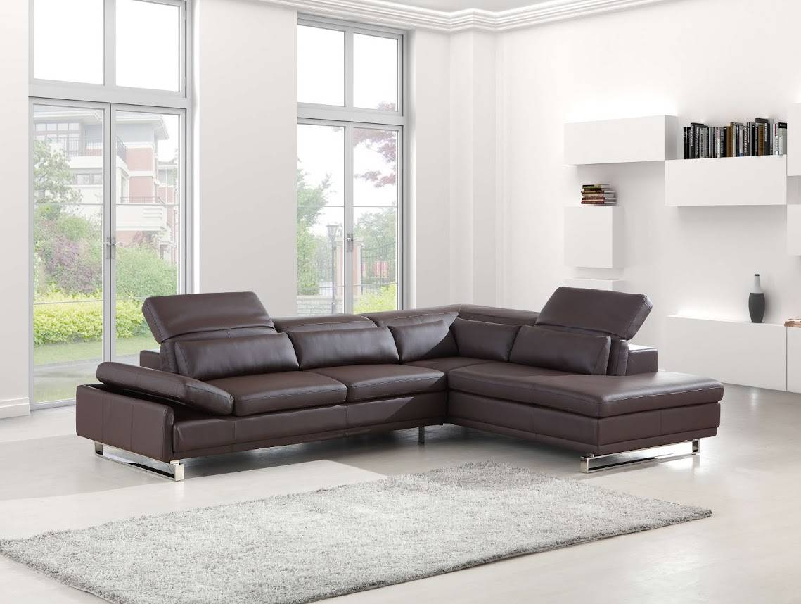 Long Bonded Leather Sectional Sofa In Brown Or White San