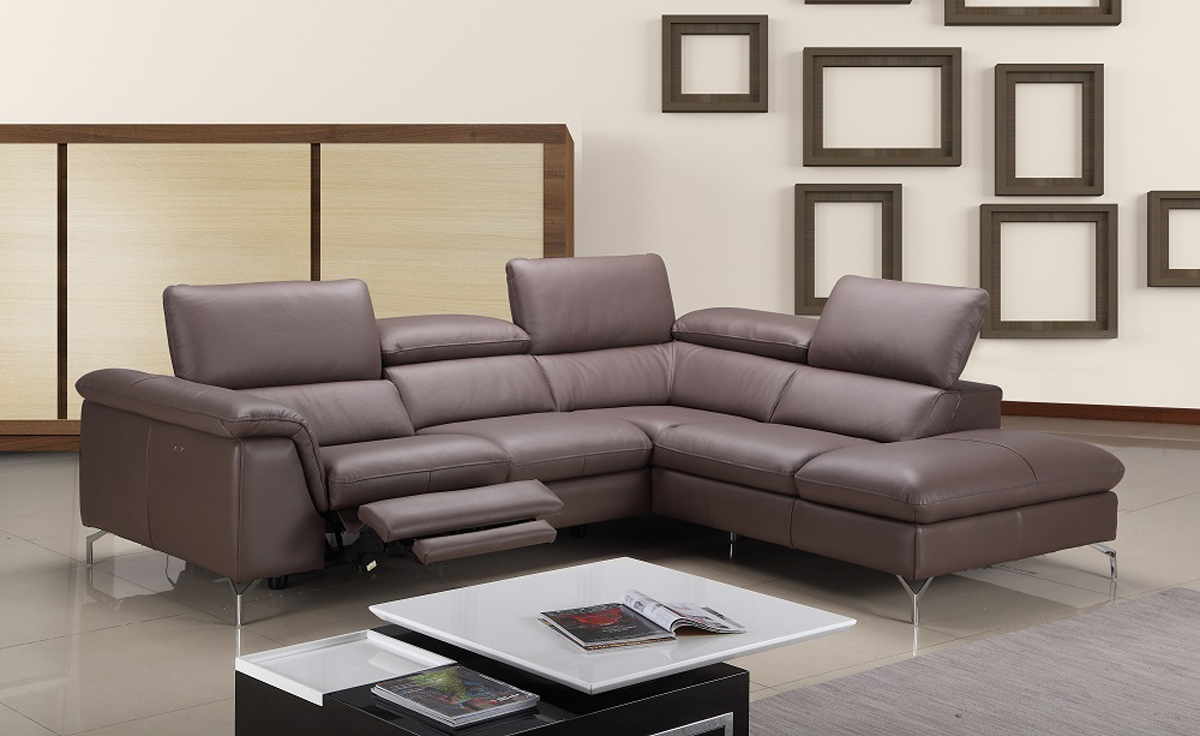 Chocolate Contemporary Sectional With A Sleek Chase And