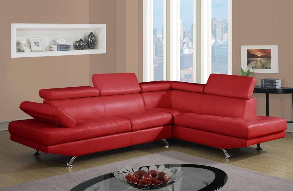 Stylish red upholstered sectional with adjustable head and for Red leather sectional sofa with recliners