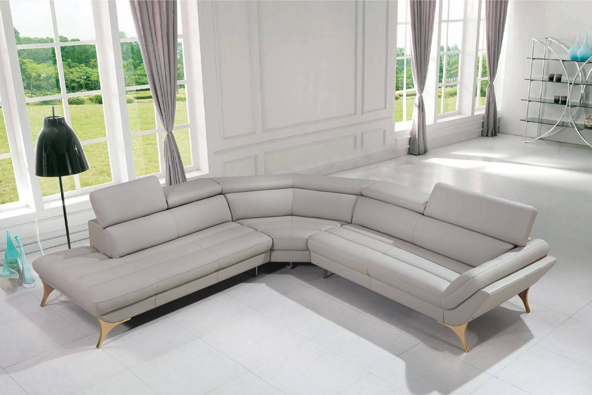 Luxury Italian Top Grain Leather Sectional Sofa Dallas