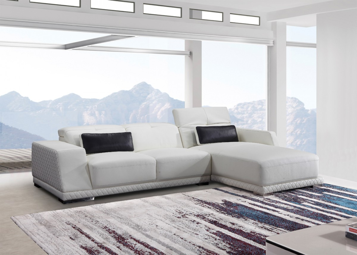 Sensational Italian Leather Sectional In White With Decorative Luxurious Trimming Camellatalisay Diy Chair Ideas Camellatalisaycom
