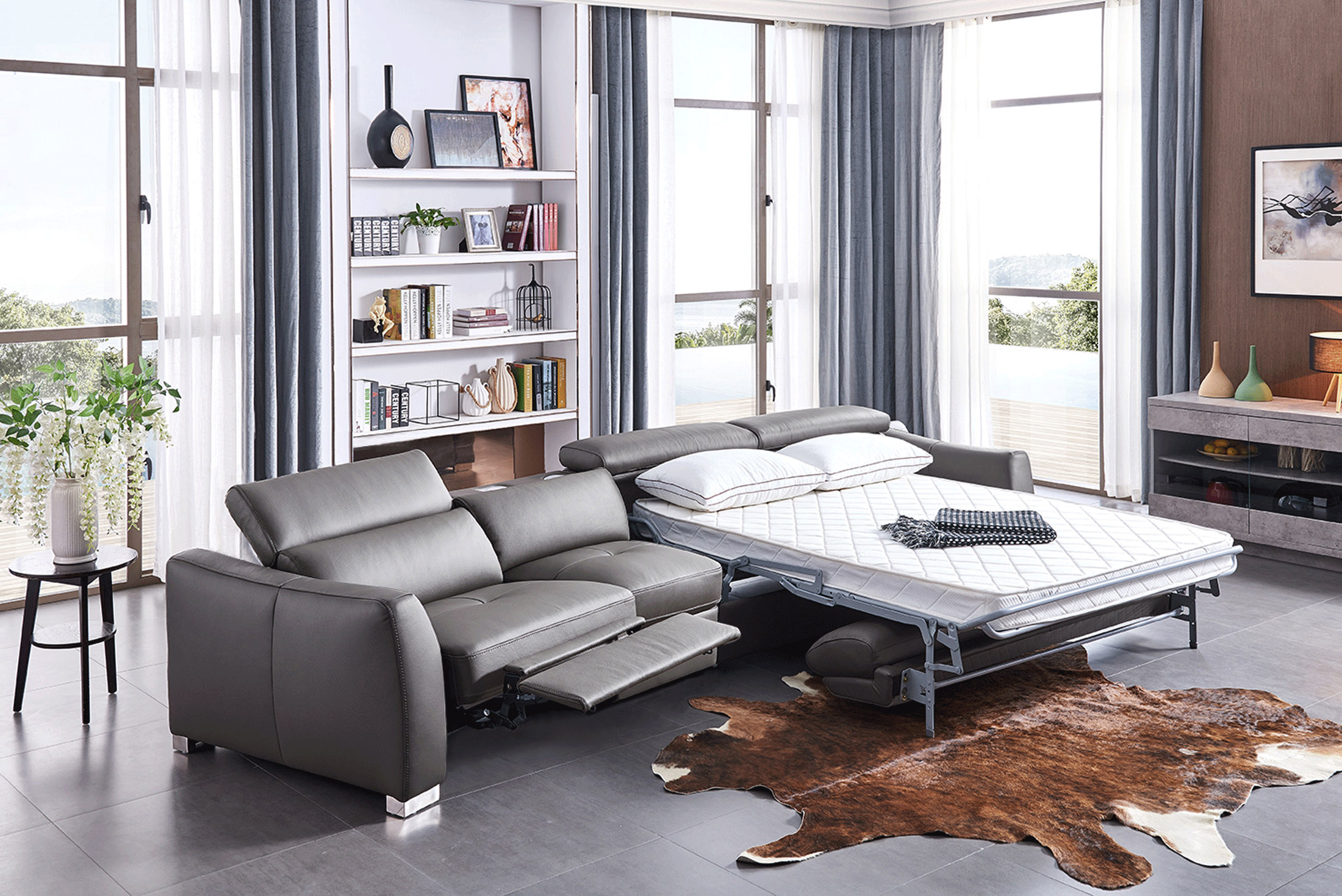 Leather Sectional With Pull Out Sleeper Bed Fresno