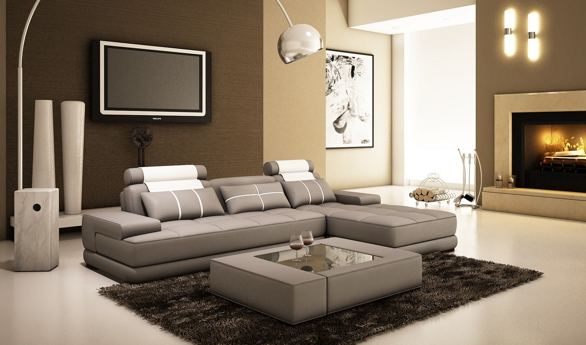 Refined Genuine Leather Sectional Plano Texas Gamma