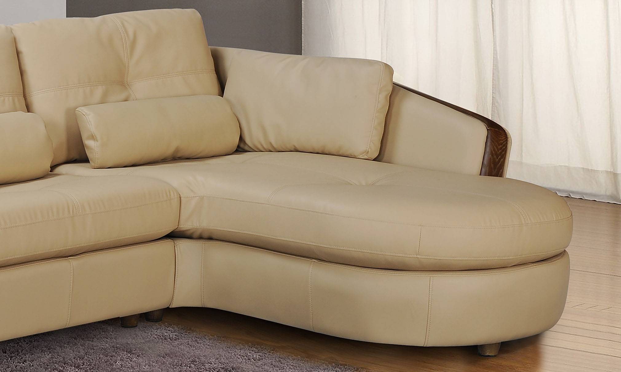 Taupe Bonded Leather Sectional Sofa with Ash Wood Accent Baltimore