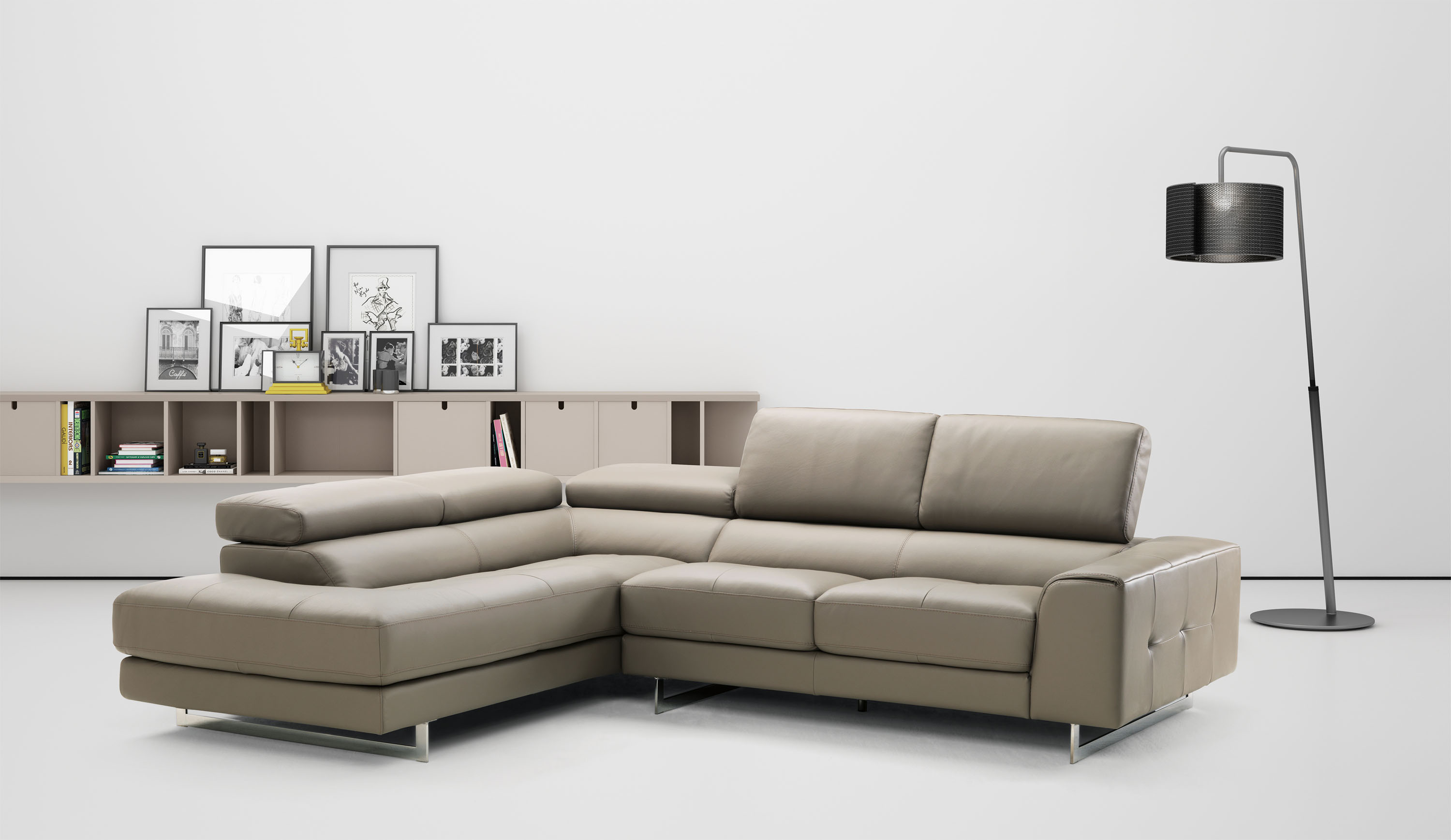 Extra Small Studio Size Brown Leather Sectional with Optional Love