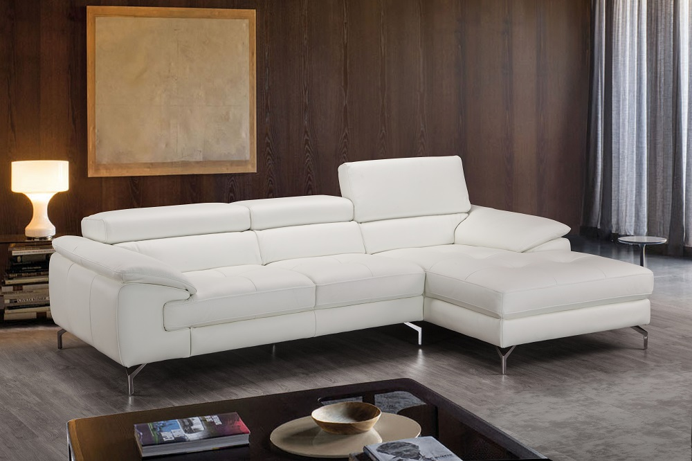 Advanced adjustable tufted leather sectional with chaise for Arizona leather sectional sofa with chaise