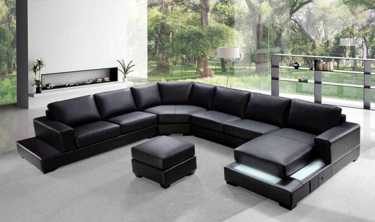 Contemporary Top Grain Leather Sectional Jersey New Jersey ...