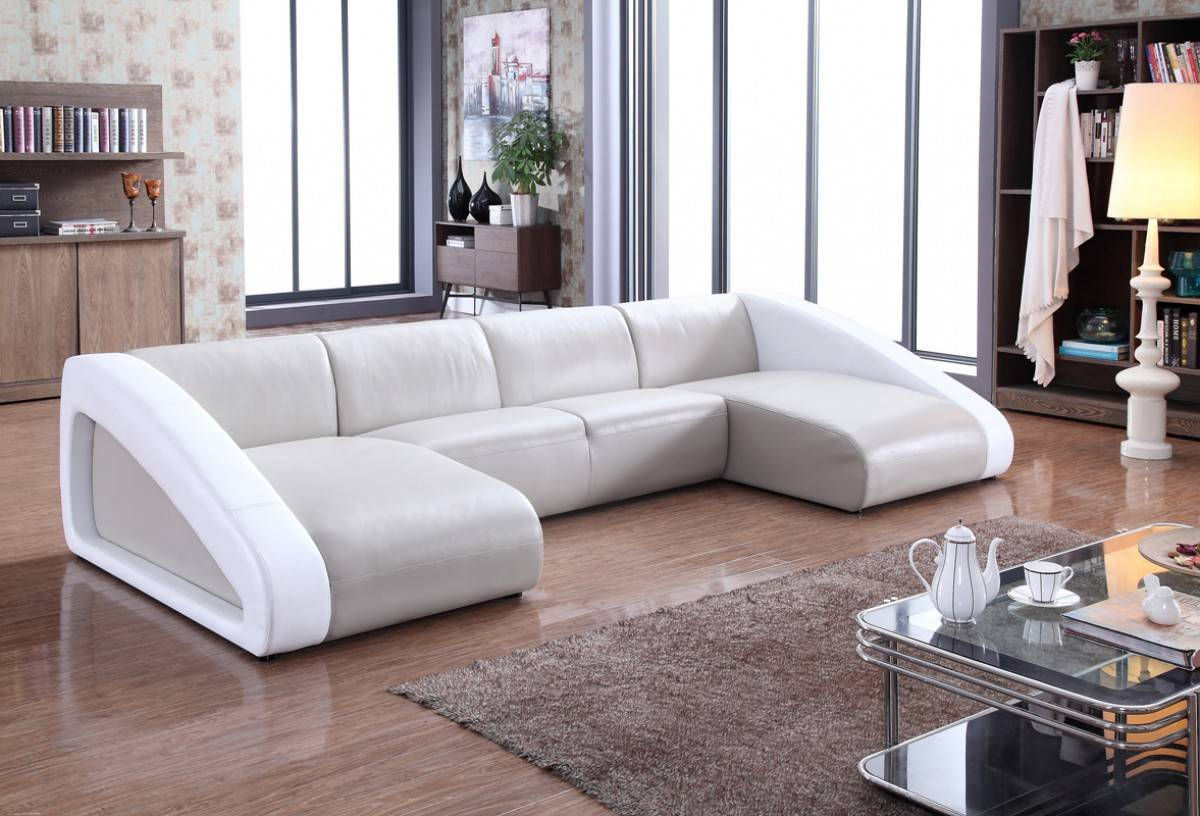Contemporary Style Leather Curved Corner Sofa Oakland