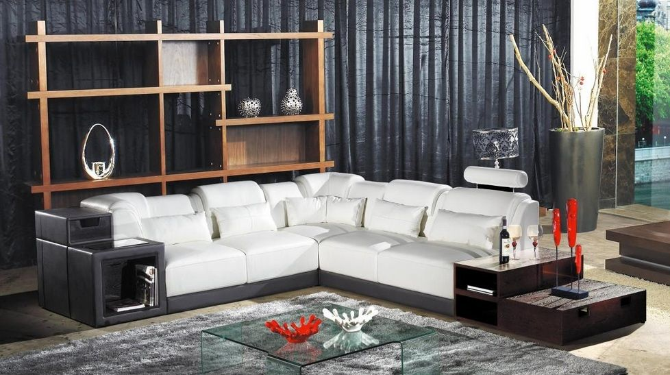 Exclusive modern leather l shape sectional colorado springs colorado v1008 Modern sofas to go with any type of decor