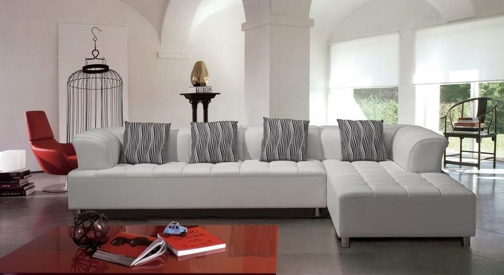 Outstanding White Tufted Contemporary Bonded Leather Sectional Sofa Download Free Architecture Designs Intelgarnamadebymaigaardcom