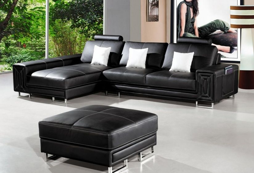 Black Stitched Bonded Leather Sectional Sofa with Ottoman ...