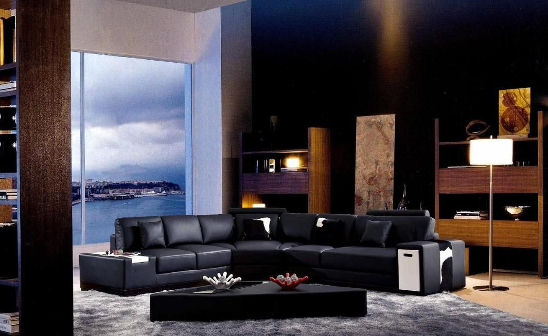 Luxurious 1/2 Italian Leather Sectional Sofa with Pillows Orlando ...