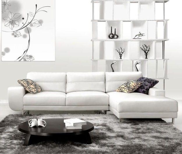 Soft Padded White Bonded Leather Sectional Sofa Sacramento California V2919b