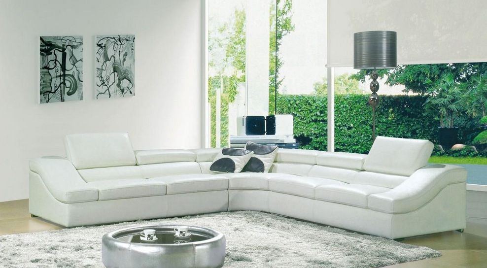 Contemporary White Sectional Sofa Upholstered in Bonded Leather ...