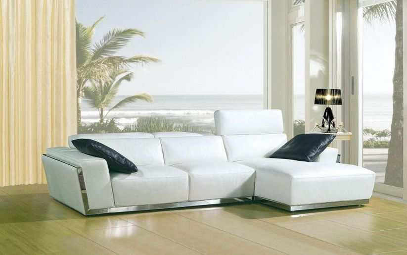 Luxurious modern leather l shape sectional st petersburg florida v8028 Modern sofas to go with any type of decor