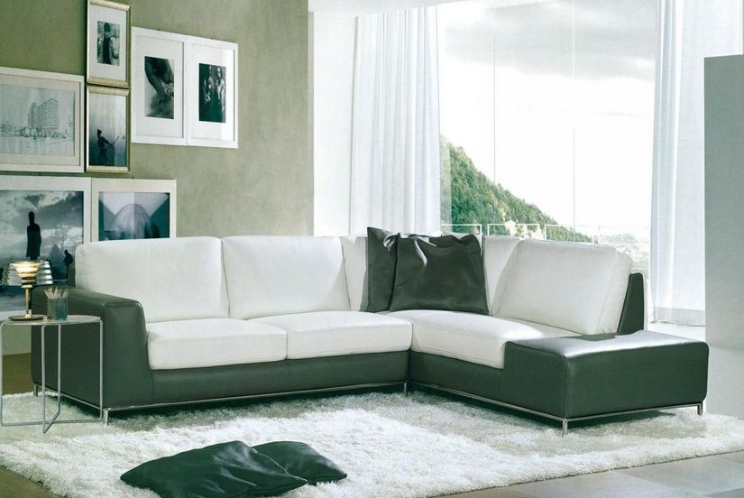 dual colored stylish sectional upholstered in bonded leather p
