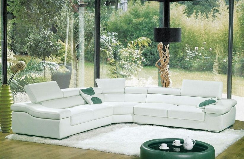 Contemporary Spacious White Bonded Leather Sectional Sofa Pittsburgh