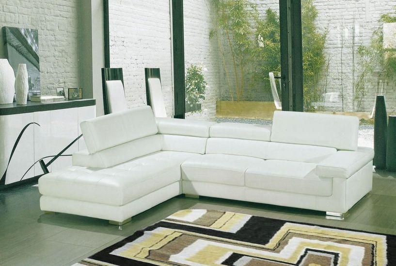 Awe Inspiring White Bonded Leather Sectional Sofa With Adjustable Headrests Creativecarmelina Interior Chair Design Creativecarmelinacom