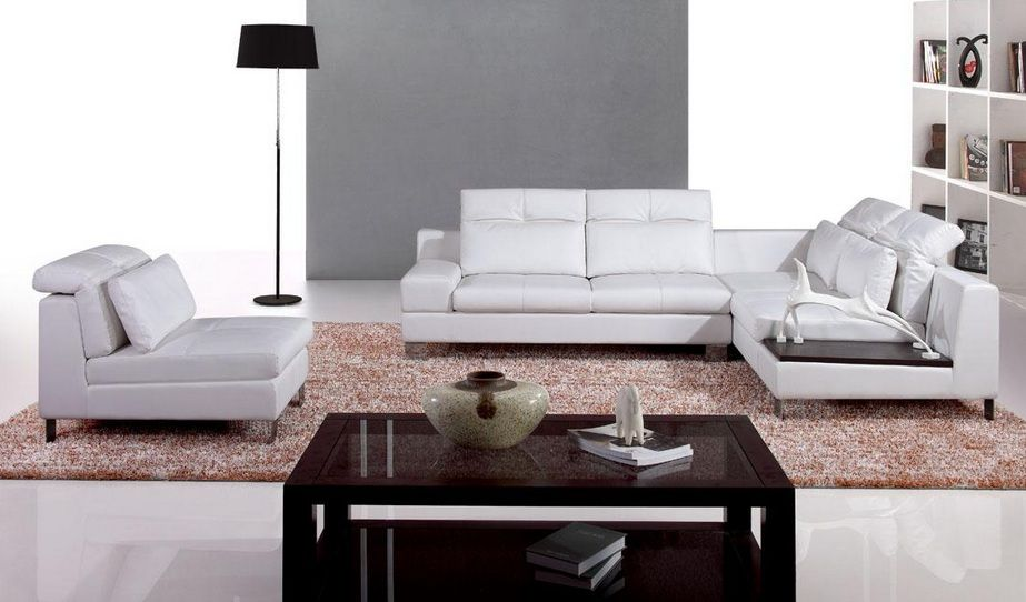 Contemporary modern leather l shape sectional boise idaho v9980 Modern sofas to go with any type of decor