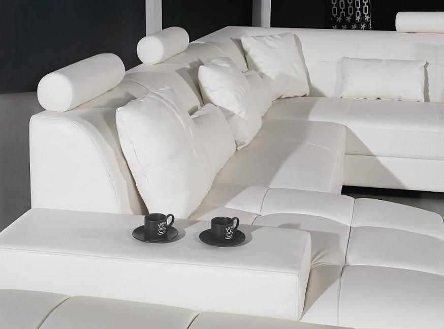 Adjustable Advanced Half Leather Sectional with Chaise - Click Image to Close