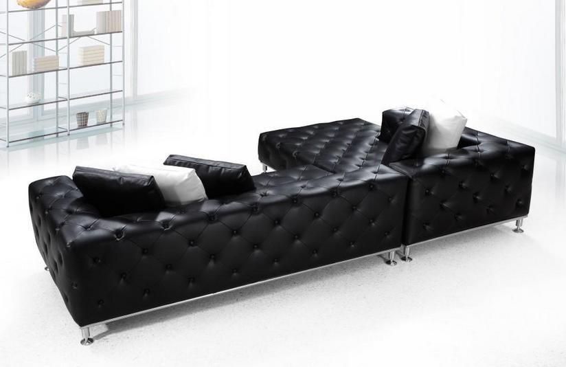 Elegant Tufted Full Leather Corner Couch Tulsa Oklahoma VIG-JAZZ