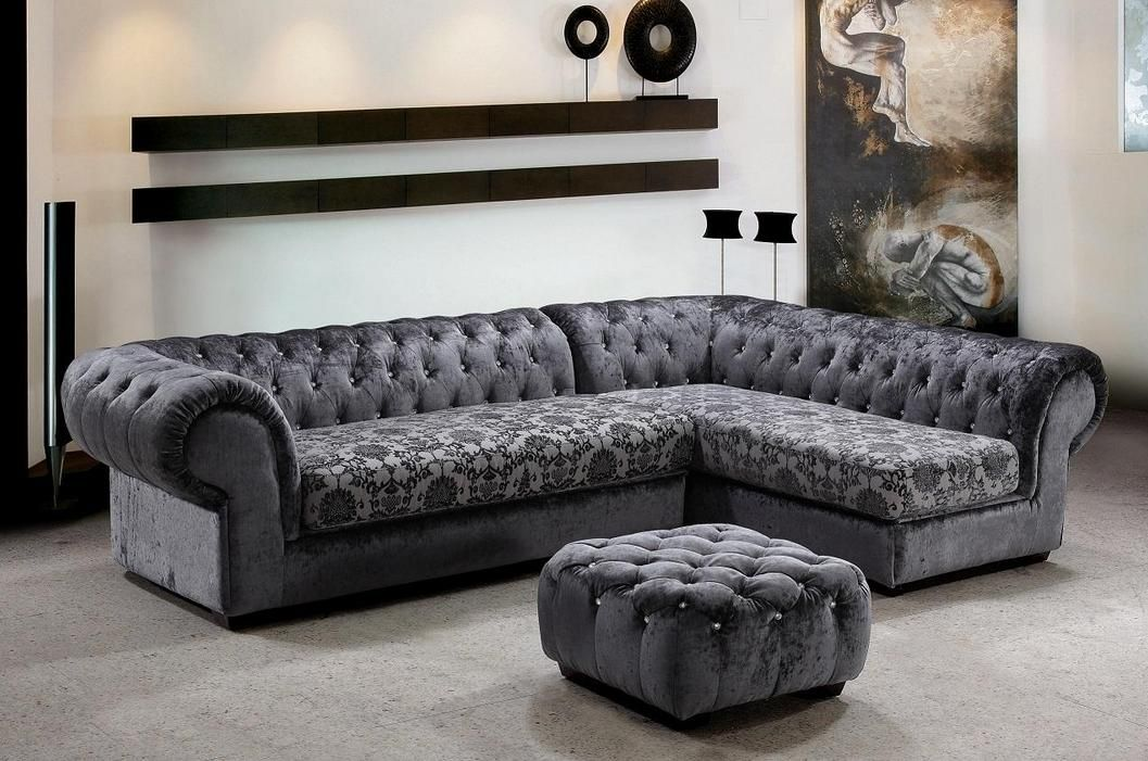 Extravagant tufted covered in microfiber sectional hayward for Tufted couch set