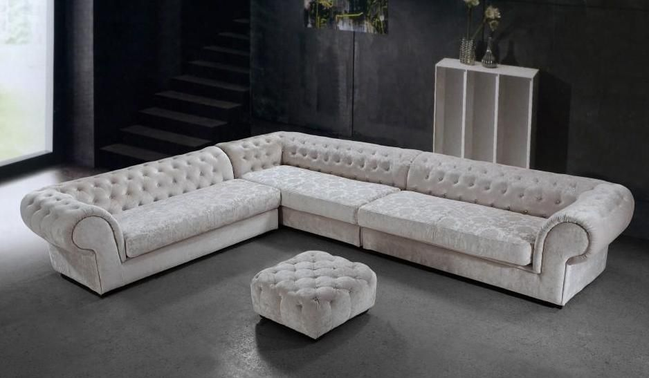 Graceful Tufted Microfiber Living Room Furniture