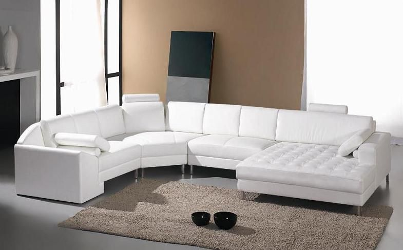 Adjustable Advanced Tufted Curved Sectional Sofa in Half Leather ...