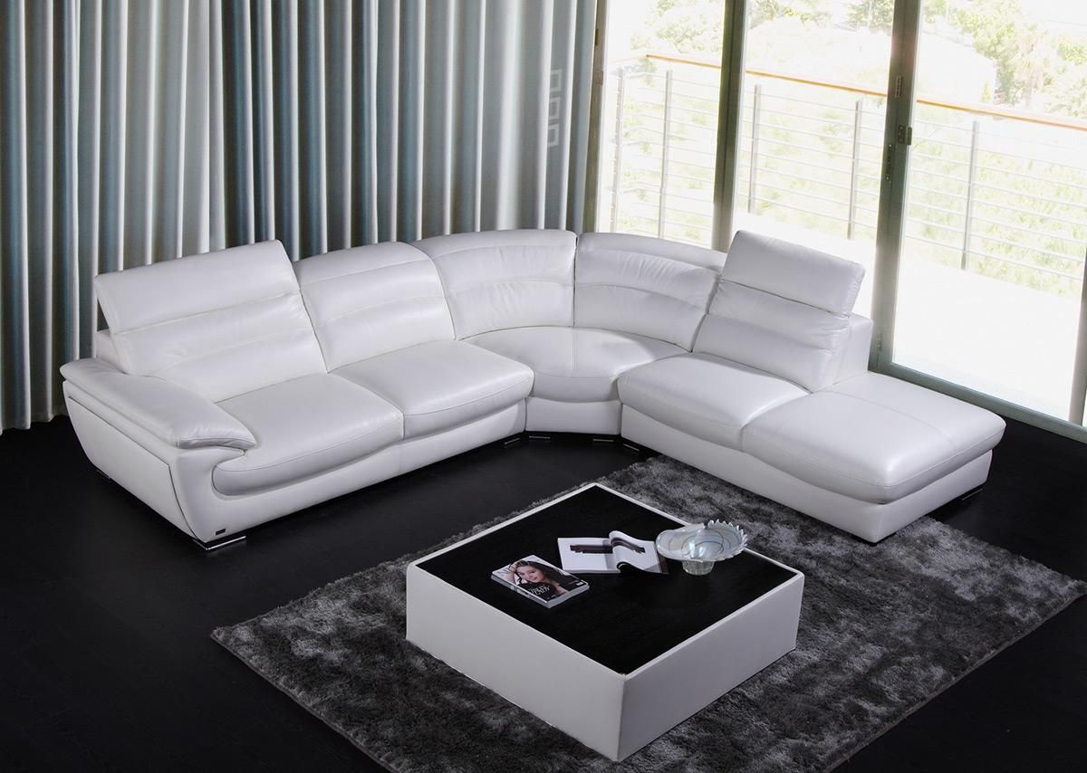 Adjustable advanced modern leather l shape sectional des moines iowa v846 Modern sofas to go with any type of decor