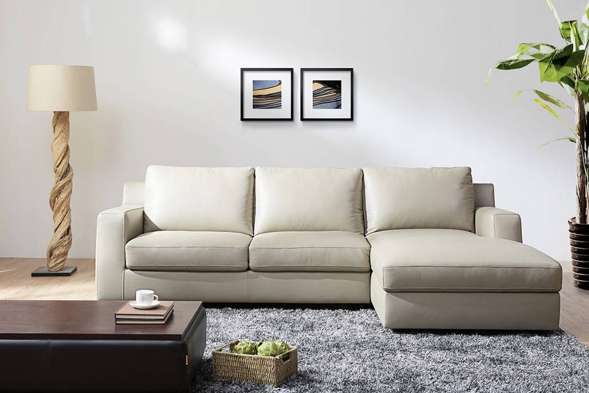 Refined Modern Leather L Shape Sectional Santa Rosa