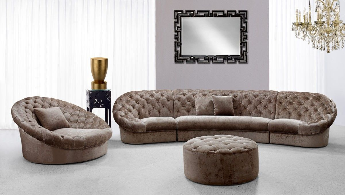 Contemporary Fabric Sectional Sofa Set With Matching Ottoman And Chair Los Angeles California Igvt06