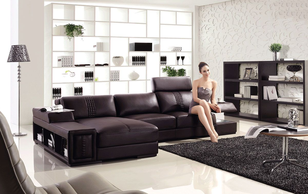 Advanced adjustable modern leather l shape sectional with for Sectional sofas kansas city mo