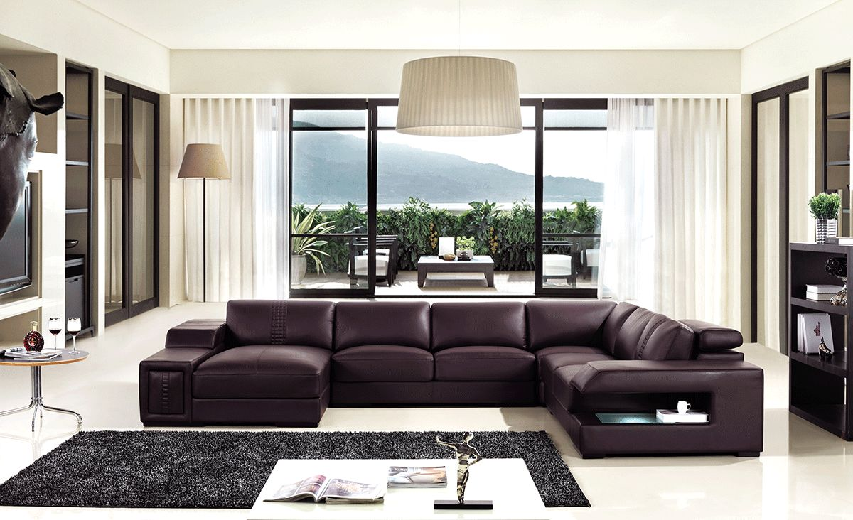 Brown Leather Sectional Sofa With Built In Coffee Table And Lights